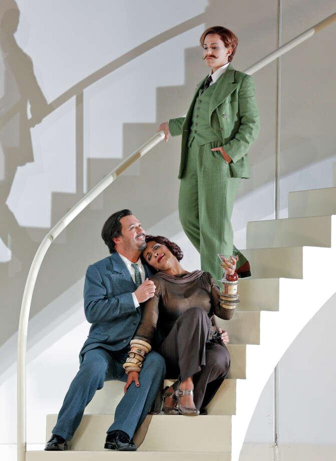 "Arsace (David Daniels, left), Partenope (Danielle de Niese) and Rosmira (Daniela Mack) in ""Partenope."" Photo: Cory Weaver/San Francisco Opera / ONLINE_CHECK"