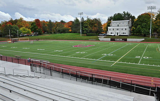Overall view of the football field at Union College on Thursday, Oct. 16, 2014 in Schenectady, N.Y. There are studies going on about a potential link with the black bead like material in artificial turf causing cancer.  (Lori Van Buren / Times Union) Photo: Lori Van Buren