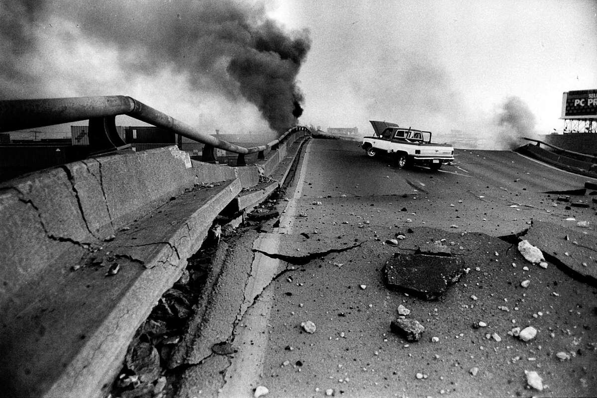 The Cypress Structure in Oakland sits collapsed Oct. 17, 1989, after the Loma Prieta earthquake.