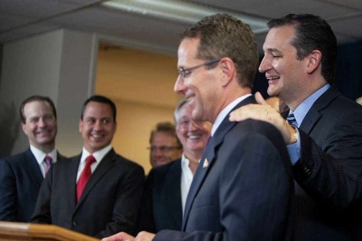 Sen. Ted Cruz, R-Texas, right, accompanied by First Baptist pastor Gregg Matte, condemned Houston for issuing subpoenas for sermons.