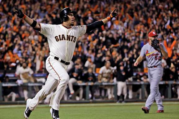 Travis Ishikawa is flying high after hitting a walkoff three-run homer in the ninth inning against the Cardinals on Thursday night, lifting the Giants into the World Series for the third time in five years.