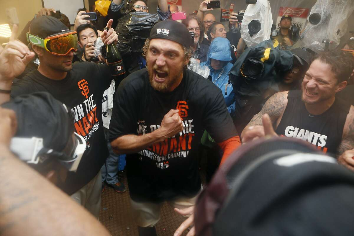 Giants Hunter Pence talks to the team after Game 5 of the NLCS at AT&T Park on Thursday, Oct. 16, 2014 in San Francisco, Calif.