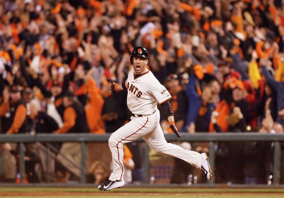 The Giants' Travis Ishikawa hit the three-run homer that beat St. Louis at AT&T Park to clinch the NLCS in Game 5, 6-3. Photo: Beck Diefenbach / Special To The Chronicle / ONLINE_YES