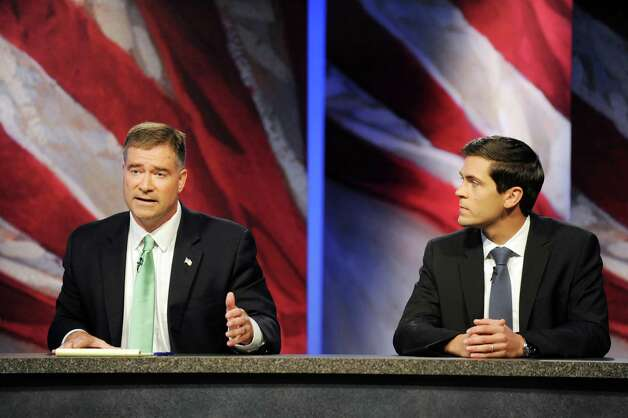 The 19th Congressional District candidates Rep. Chris Gibson, left, and Sean Eldridge debate on Thursday, Oct. 16, 2014, at WMHT Studios in North Greenbush, N.Y. (Cindy Schultz / Times Union) Photo: Cindy Schultz / 10028932A