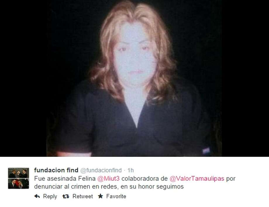 The Twitter account associated with María del Rosario Fuentes Rubio, @Miut3, was hacked by her kidnappers, later Tweeting a photo of a bloody, lifeless body on Thursday morning. The status that accompanied the photo suggested people close their accounts in order to protect the lives of their families. Photo: Twitter Screenshots