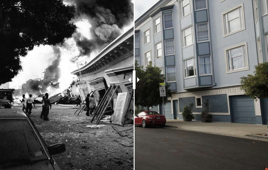 One of the most iconic images made in the earthquake aftermath depicts buildings at the intersection of Beach St. and Divisadero St. in the Marina district. Today, there is no trace of the destruction. Photo: The Chronicle