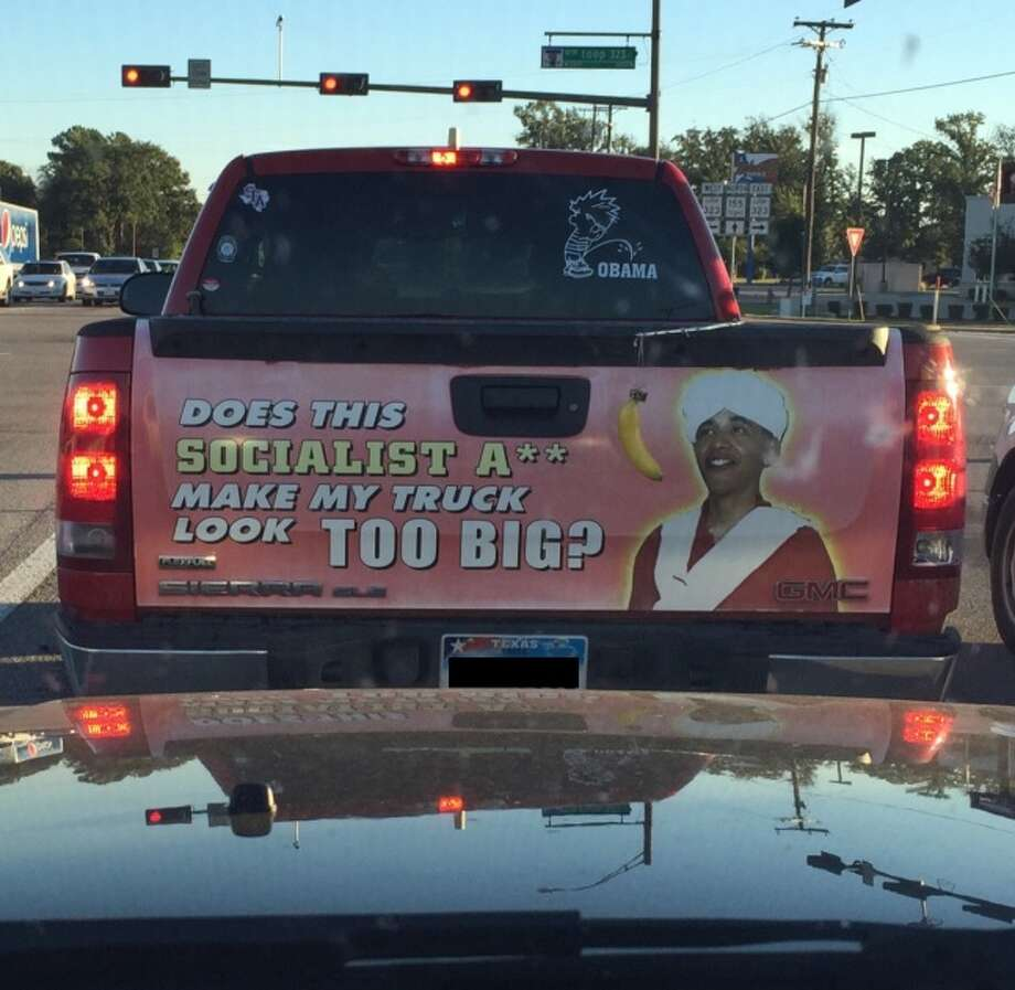 Texans Truck Has Possibly The Most Racist Decal Ever San - Redneck window decals for trucks