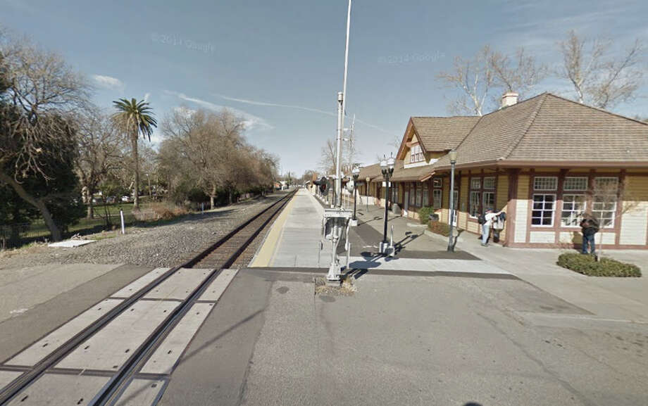 Samantha Lewis, 20, was on the tracks at the Amtrak station in Chico when she was hit by a southbound train. Photo: Google Maps