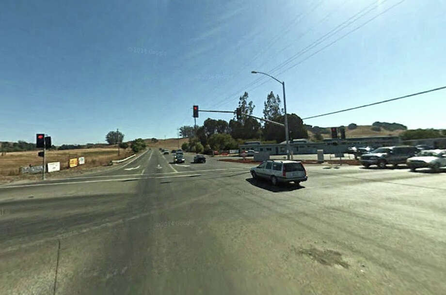 The intersection of Stony Point Road and Highway 116. A man has his car sideswiped by a drunk driver near the intersection, causing him to spin out. Photo: Google Maps