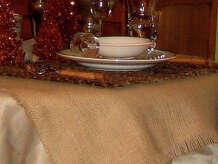 Burlap tablecloth.