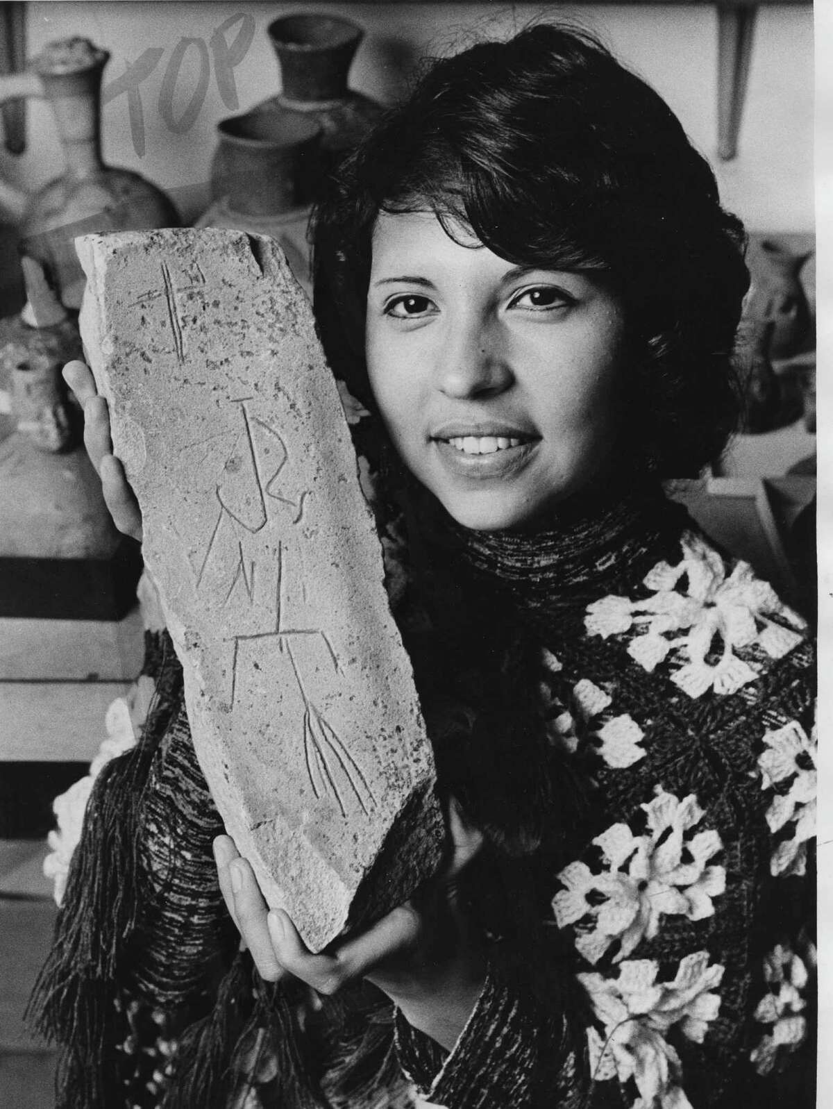 This rock, located at the Lowie Museum of Anthropology at University of California at Berkeley, is thought to be the headstone of Juan Rodriguez Cabrillo, early European explorer of California. Photo courtesy of University of California Berkeley (Dennis Galloway)