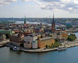 Stockholm's Riddarholmen district — viewed here from City Hall — is tourable by bike.