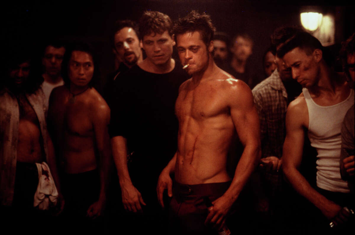 """9. """"Fight Club"""" (1999), 80 percent: Solid acting, amazing direction, and elaborate production design make """"Fight Club"""" a wild ride, and Brad Pitt turns in one of the 1990s' most iconic performances as the iconoclastic, mysterious Tyler Durden."""