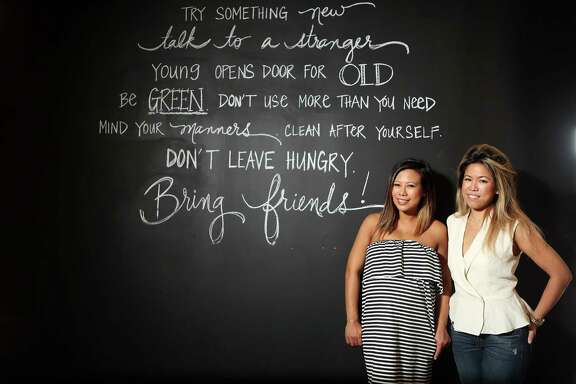 Tout Suite, a new bakery and cafe in downtown Houston, is owned by partners Sandy Tran, left, and Anne Le.