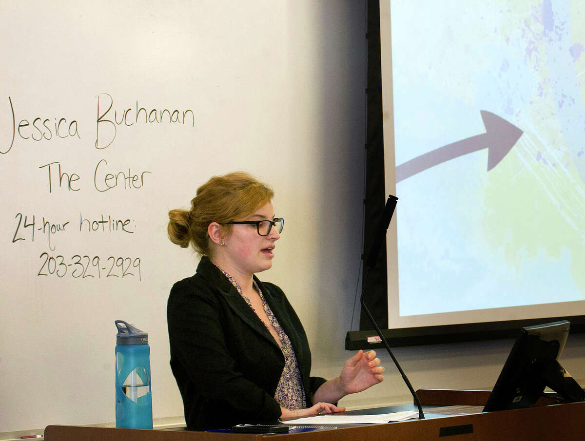 Jessica Buchanan of The Center for Sexual Assault Crisis Counseling and Education gives a sexual assualt awareness presentation during a mandatory course for freshman at the University of Connecticut's Stamford campus on Wednesday, October 15, 2014.
