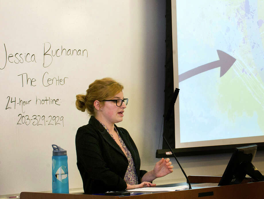 Jessica Buchanan of The Center for Sexual Assault Crisis Counseling and Education gives a sexual assualt awareness presentation during a mandatory course for freshman at the University of Connecticut's Stamford campus on Wednesday, October 15, 2014. Photo: Lindsay Perry / Stamford Advocate