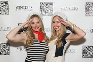 """Elizabeth Sgarrella and Michelle Bertino at the Spinsters' Fifth Annual """"Fleet or Flight"""" party at Circa on October 10, 2014."""