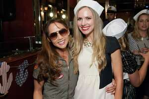 "Emily Leung and Michelle Bertino at the Spinsters' Fifth Annual ""Fleet or Flight"" party at Circa on October 10, 2014."