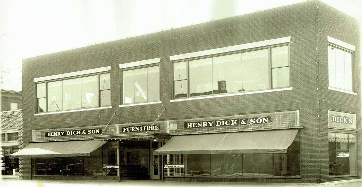 In 1903, Henry Dick decided to close down his saloon and open up a furniture store. His store at 136 Main St. opened in 1912. The business survived the Great Depression and the store was remodeled in the 1930s. The business was taken over by his son Abraham Dick in 1938. The store closed in 1996.
