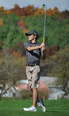 Amsterdam's James Phelps hits a tee shot during the Section II state golf qualifier at Orchard Creek Golf Club on Friday, Oct. 17, 2014 in Altamont, N.Y.(Lori Van Buren / Times Union) Photo: Lori Van Buren / 00029052A