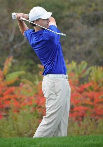 Saratoga's Chris Thompson hits a tee shot during the Section II state golf qualifier at Orchard Creek Golf Club on Friday, Oct. 17, 2014 in Altamont, N.Y. (Lori Van Buren / Times Union) Photo: Lori Van Buren / 00029052A