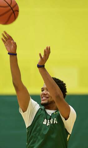 Coppin State transfer Patrick Cole makes some shots during media day Friday morning, Oct. 17, 2014, at Siena College in Loudonville, N.Y. (Skip Dickstein/Times Union) Photo: SKIP DICKSTEIN / 10029024A