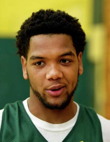 Coppin State transfer Patrick Cole speaks to the press during media day Friday morning, Oct. 17, 2014, at Siena College in Loudonville, N.Y. (Skip Dickstein/Times Union) Photo: SKIP DICKSTEIN / 10029024A