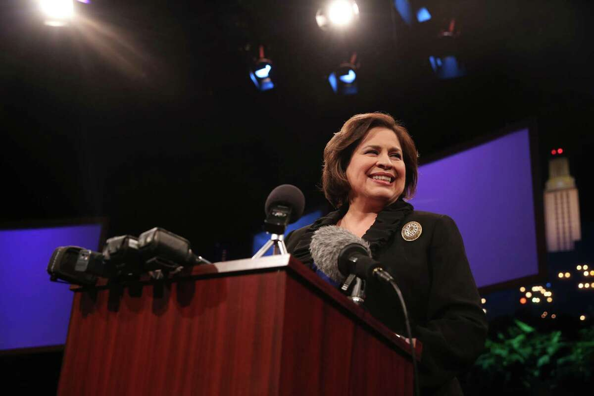 Lieutenant governor candidate Leticia van de Putte answers questions at a Q&A session after a debate on Monday, Sept. 29, 2014. The debate, which included discussion of public education and border issues, was the first in which van de Putte's opponent Dan Patrick agreed to appear face to face with her. (AP Photo/The Daily Texan, Ethan Oblak)