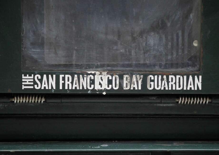 An empty San Francisco Bay Guardian news rack stands as mute testimony to the silencing of the progressives' bullhorn. Photo: Leah Millis / The San Francisco Chronicle / ONLINE_YES