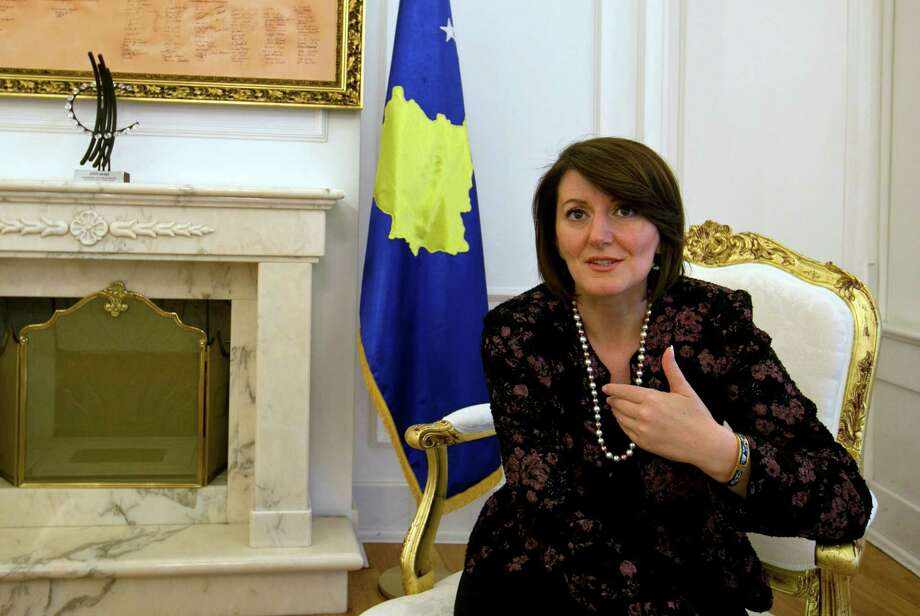 In this photo taken on Thursday, Oct. 16, 2014, Kosovo President Atifete Jahjaga gestures during an interview with The Associated Press in Kosovo's capital Pristina. Photo: Visar Kryeziu, STF / AP