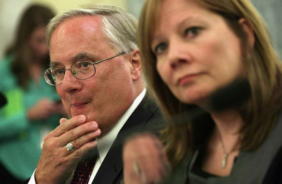 GM says it will seek external candidates to replace its top lawyer, Michael Millikin, left, shown with CEO Mary Barra during an appearance in July before a Senate subcommittee. Photo: Alex Wong, Staff / 2014 Getty Images
