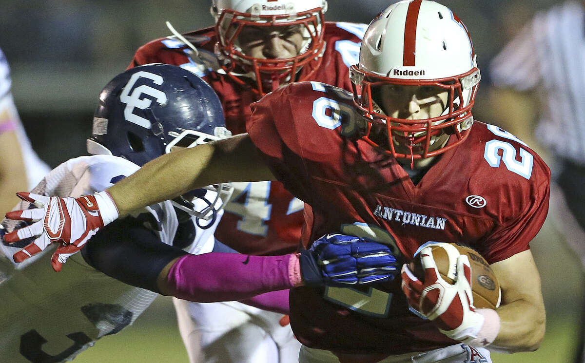 Apache running back Daniel Rosenfeld blows through the left side for his first touchdown as Antonian hosts Central Catholic at Ferrara Stadium on October 17, 2014.