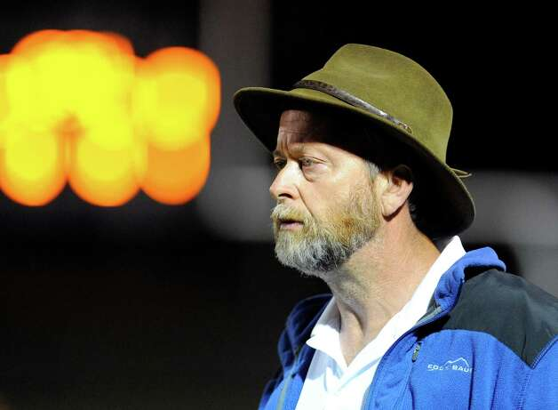 Queensbury head coach John Irion instructs his players against Burnt Hills-Ballston Lake during the first half of their Section II Class A football game on Friday, Sept. 17, 2014, in Burnt Hills, N.Y. (Hans Pennink / Special to the Times Union) ORG XMIT: HP105 Photo: Hans Pennink / Hans Pennink