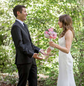 Nick Kordesch and Hazel Perry wed at the University of California Botanical Garden at Berkeley.