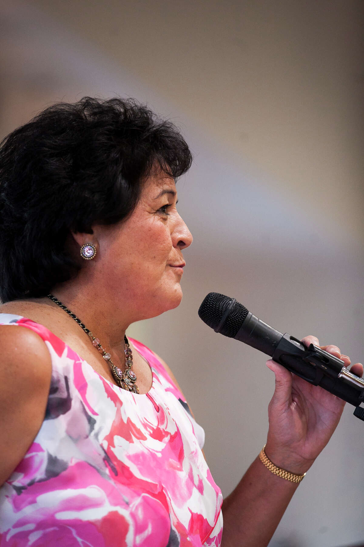 Golf legend Nancy Lopez during a press conference for the induction into the National Hispanic Sports Hall of Fame hosted by Latinos In Action Sports Association October 17, 2014, at San Fernando Community Center.