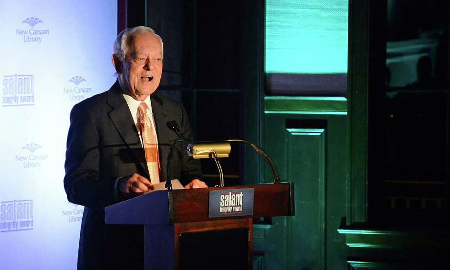 Bob Schieffer, CBS News' Chief Washington Correspondent and moderator of Face the Nation, accepts the inaugural Salant Integrity Award at Woodway Country Club in Darien, Conn., Friday, Oct. 17, 2014. The award was established in memory of former New Canaan resident Richard Salant, a legendary journalist and past president of CBS News. Photo: Nelson Oliveira / New Canaan News