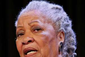 "Author Toni Morrison speaks during an interview about her latest book ""Home,"" during Google's online program series, Authors At Google, on Wednesday, Feb. 27, 2013 in New York.  (AP Photo/Bebeto Matthews)"