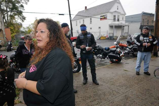 Elizaeth Dolder speaks to the media prior to the Sa'fyre's Ride a motorcycle ride to benifit Dolder's niece 7-year-old Sa'Fyre Terry on Saturday Oct. 18, 2014 in Schenectady, N.Y.  (Michael P. Farrell/Times Union) Photo: Michael P. Farrell / 00029082A