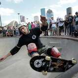 Lou Statman of Austin is shown during a session honoring legendary bowl and pool skaters of the 1970s and early 1980's shown during the third annual Skatestock held at Lee and Joe Jamail Skatepark, 103 Sabine, Saturday, Oct. 18, 2014, in Houston.