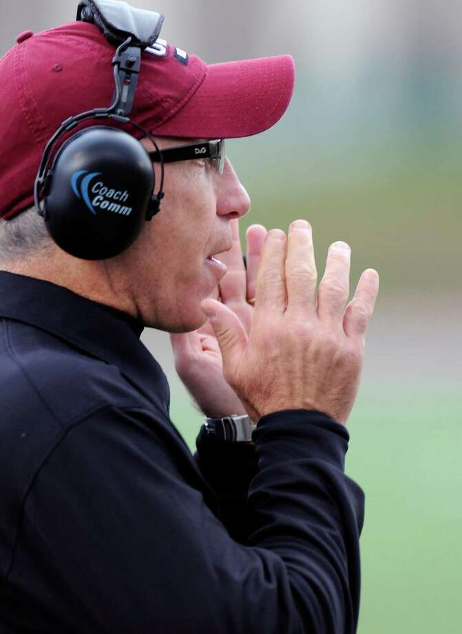 Union head coach John Audino instructs his players against Western New England during the first half of an NCAA college football on Saturday, Oct. 18, 2014, in Schenectady, N.Y. (Hans Pennink / Special to the Times Union) ORG XMIT: HP101 Photo: Hans Pennink / Hans Pennink