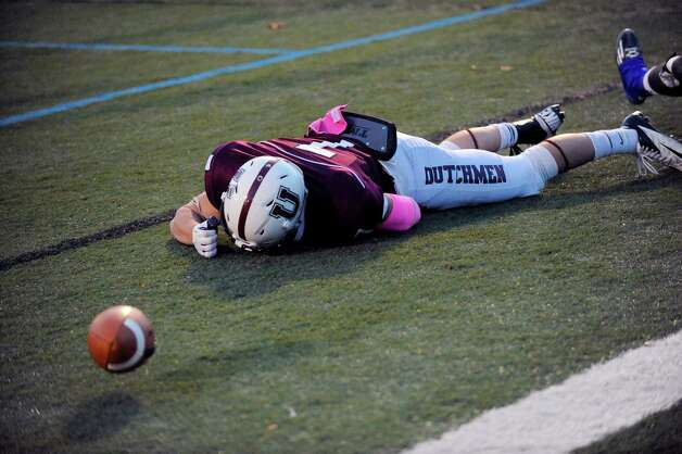 Union's Josh Callahan reacts after droping a pass in the end zone while against Western New England the second half of an NCAA college football on Saturday, Oct. 18, 2014, in Schenectady, N.Y. (Hans Pennink / Special to the Times Union) ORG XMIT: HP120 Photo: Hans Pennink / Hans Pennink