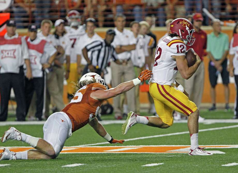 Iowa State quarterback Sam Richardson (12) led an offense that gained 524 yards and picked up 30 first downs in a 48-45 loss to Texas on Saturday in Austin. Photo: Michael Thomas, FRE / FR65778 AP