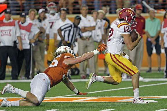 Iowa State quarterback Sam Richardson (12) led an offense that gained 524 yards and picked up 30 first downs in a 48-45 loss to Texas on Saturday in Austin.