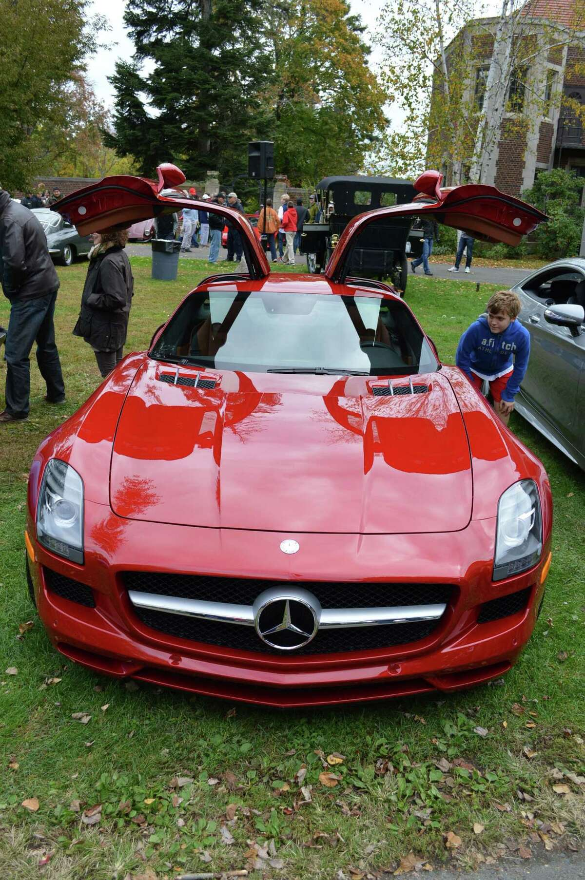 This red Mercedes attention drew close attention from many attendees at Sunday's Caffeine & Carburetors.