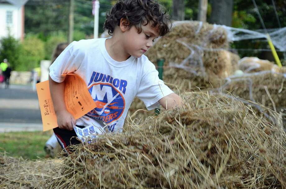 Jack Thompson, 6, looks for goodies at a haystack hunt during the 45th annual Fall Fair at the New Canaan Nature Center, New Canaan, Conn., Saturday, Oct. 18, 2014. Photo: Nelson Oliveira / New Canaan News