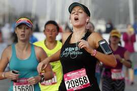 Rachel C. showed relief as she finished the half marathon Sunday October 19, 2014. The 11th annual Nike Women's Half Marathon, which celebrates female athletes in the Bay Area, started off from Union Square and ended at the Marina in San Francisco, Calif.