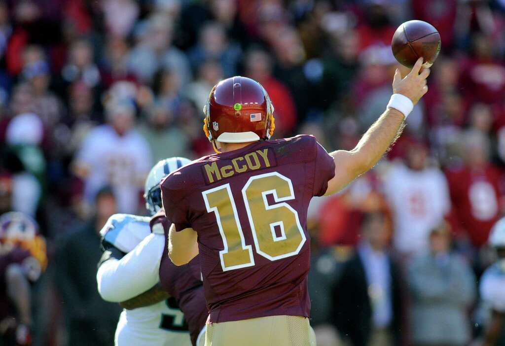 1b3c108c5cd ... Limited Jersey Nike OliveCamo 2017 Salute to Service Washington Redskins  quarterback Colt McCoy (16) throws a during the second half of an ...