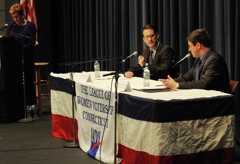 Democrat Jim Himes, left, and Republican Dan Debicella square off in a League of Women Voters 4th Co