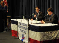 Democrat Jim Himes, left, and Republican Dan Debicella square off in a League of Women Voters 4th Congressional District debate at Wilton High School in Wilton, Conn. on Sunday, October 19, 2014.