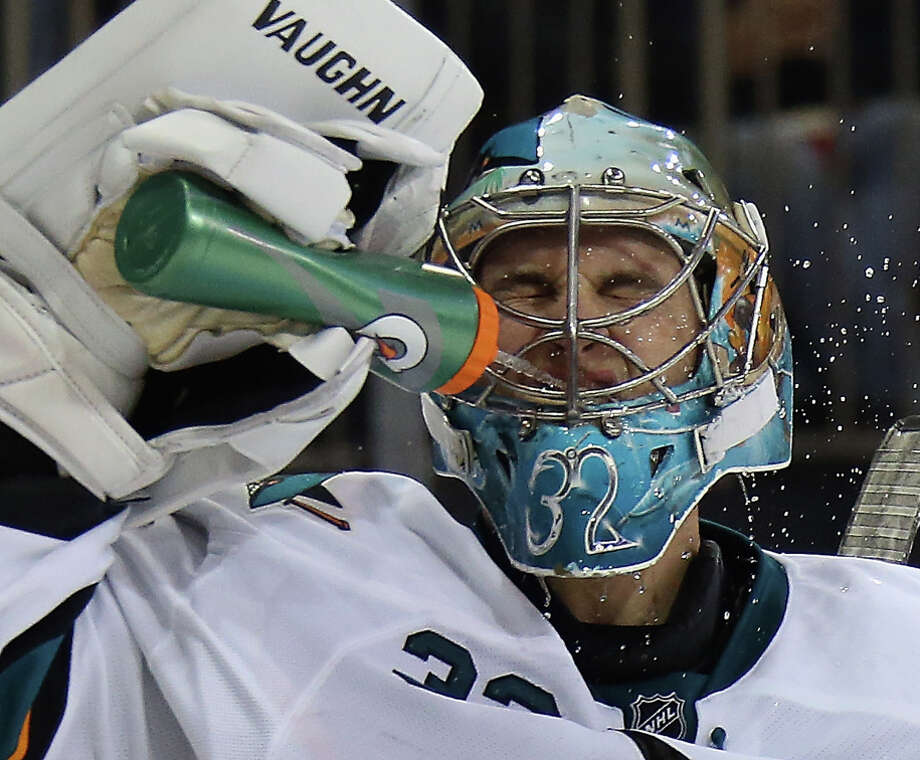 Alex Stalock of the San Jose Sharks takes a water break last month during a game at Madison Square Garden in New York. Photo: Bruce Bennett / Getty Images / 2014 Getty Images